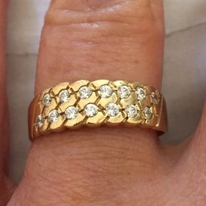Yellow Gold CZ Band Ring Size 7.5